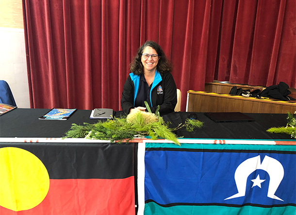 Angela at the 8th anniversary of native title determination for the Quandamooka people,  July 2019
