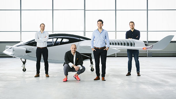 Co-founders Sebastian Born, Patrick Nathen, Daniel Wiegand and Mathias Meiner with the Lilium jet.
