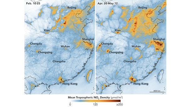Nitrogen dioxide levels in China in May