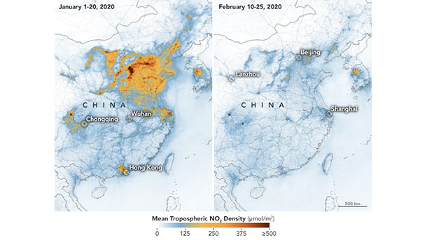 Nitrogen dioxide levels in China drop in February 2020