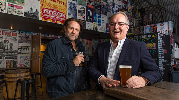 JC (Powderfinger's John Collins) and John Greig FCA at The Triffid live music venue in Brisbane's Newstead