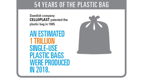 """54 years of the plastic bag"" section"